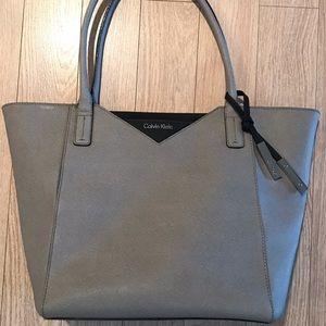 Grey Calvin Klein Leather Tote